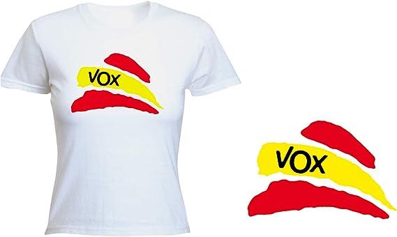 MERCHANDMANIA Camiseta Mujer Partido VOX Bandera ESPAÑOLA Tshirt: Amazon.es: Ropa y accesorios