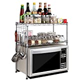 USUN Silver Steel 2-Tier D30cm W55cm H55cm Adjustable Microwave Oven Storage Rack Kitchen Tableware Shelves Counter and Cabinet Shelf with 4 Side Hooks WJG3055-SL