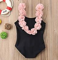 Lily.Pie Baby Girls Flower Shoulder Straps One Piece Swimsuit Backless Bathing Suit Kid Toddler Girl Swimwear Beach Wear