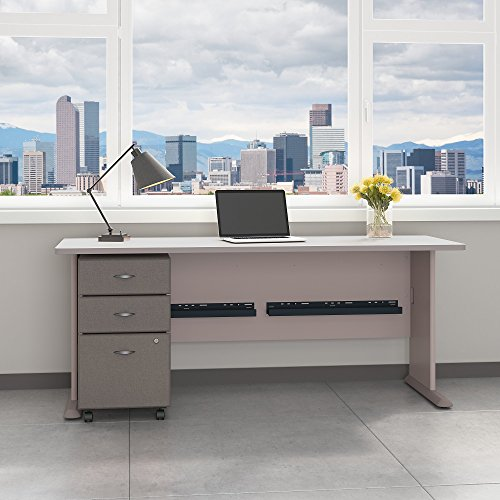 Bush Business Furniture Series A 72W Desk with Mobile File Cabinet in Pewter and White Spectrum