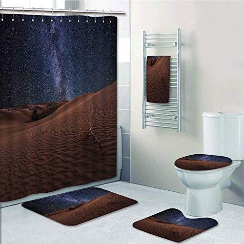 Bathroom 5 Piece Set shower curtain 3d print,Space,Life on Mars Themed Surreal Surface of Gobi Desert Dune Oasis Lunar Adventure Photo,Brown Blue,Bath Mat,Bathroom Carpet Rug,Non-Slip,Bath Towls