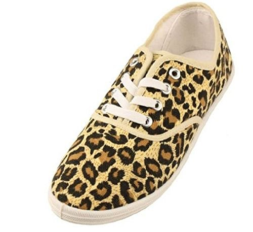 Womens Leopard Animal Print Canvas Laced Sneakers Shoes (9) (Leopard Tennis Shoes For Women)