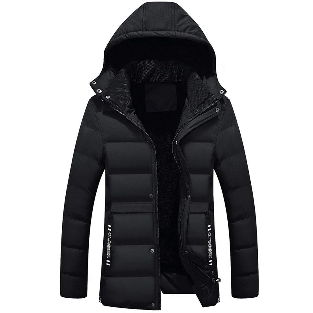 LUCAMORE Fashion Mens Casual Pocket Button Down Jacket Top Coat Windbreaker Winter Warm Coat Zipper Jacket Black by Luca-Coat