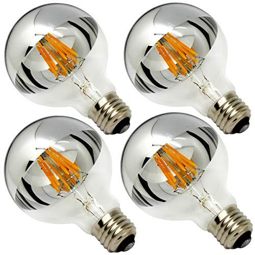 Half Chrome Light Bulb Dimmable 6W (Equivalent 60 Watt) G80/ G25 Globe Shape 2700K Warm White Decorative LED Edison Bulb Sliver Tipped Mirror Larger Light Bulb E26 Base Pack of 4 (Silver Globe Bulb)