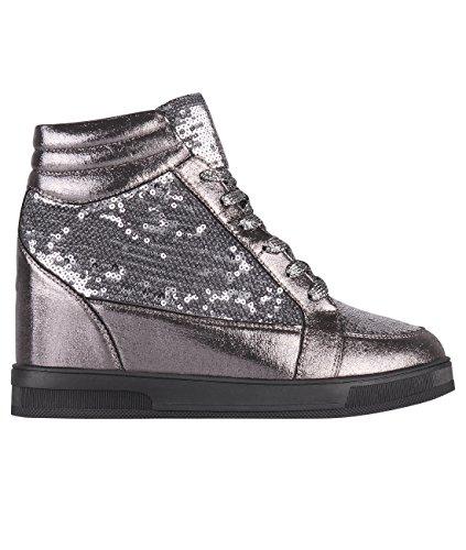 KRISP Damen Sneaker Sportschuhe Streetwear Silber (5484)