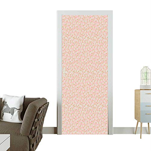 Door Sticker Wall Decals Repeating Spring Themed Romantic Bridal Light Pink Green White Easy to Peel and StickW31 x H79 -