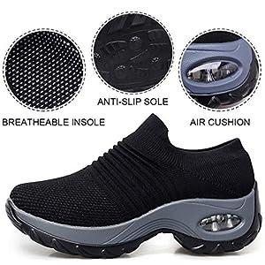 Sneakers Zeppa Donna Scarpe da Ginnastica Basse Corsa Sportive Fitness Running Mesh Air Scarpe Estive Primavera Casual All'Aperto Gym