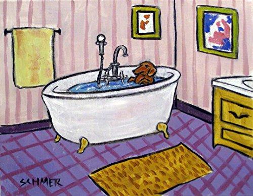 Dachshund taking a Bath in a Claw Foot Tub signed dog art ()
