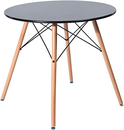 Fanilife 80 cm Salle à Manger Table Ronde Nouveau Style Moderne rétro  Bureau avec Pieds en Bois de hêtre Noir