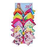 INS JOJO Siwa Large Hair Bows for Girls,8INCH Grosgrain Bowknot Hairpins 6pcs/set/card (SET 1)
