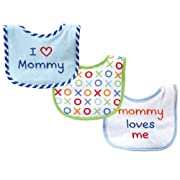 Luvable Friends I Love Mommy and Daddy Baby Bibs, Blue Mommy, 3-Count