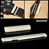 Neewer 6 String Acoustic Guitar Bone Bridge Saddle and Nut Made of High Quality Real Oxen Bone--Ivory