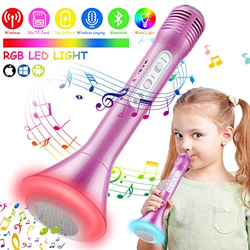 rophone, Kids Microphone with Bluetooth Speaker, Karaoke Mic Portable Karaoke Player Machine for Kids/Adult Home Party Music Singing Playing (Pink) ()