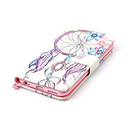 Leder Tasche Schutzhülle für iPhone 6 Plus/iPhone 6S Plus 5.5 Hülle mit Lanyard Flip Cover Wallet Case Etui Slynmax Bunt Muster Design Hand Strap Brieftasche Lederhülle im Bookstyle Ultra Slim Ledert Blumenglockenblume