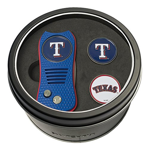 Team Golf MLB Texas Rangers Gift Set Switchblade Divot Tool with 3 Double-Sided Magnetic Ball Markers, Patented Single Prong Design, Causes Less Damage to Greens, Switchblade Mechanism ()