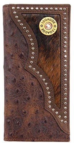 (Custom 12 Gauge Shotgun Long Ostrich print wallet with hair and hide inlay)