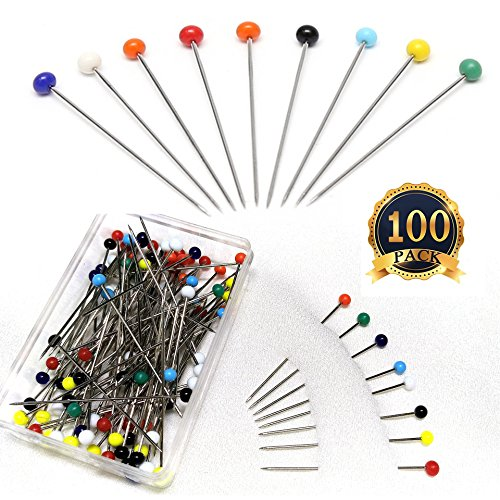 Pearlized Head Straight Pins Glass Bead Needle 38mm Sewing Needle 100-Count (100)