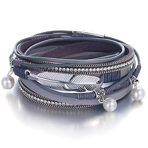 FINETOO Long Feather Pearl Wrap Bracelet Multi-Layer Leather Crystal Rhinestone Bead Stand Bracelet with Alloy Magnetic Clasp Boho Jewelry for Women