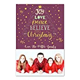 30 Christmas Family Picture Card Holiday Greeting Personalized Burgundy Gold Photo Paper