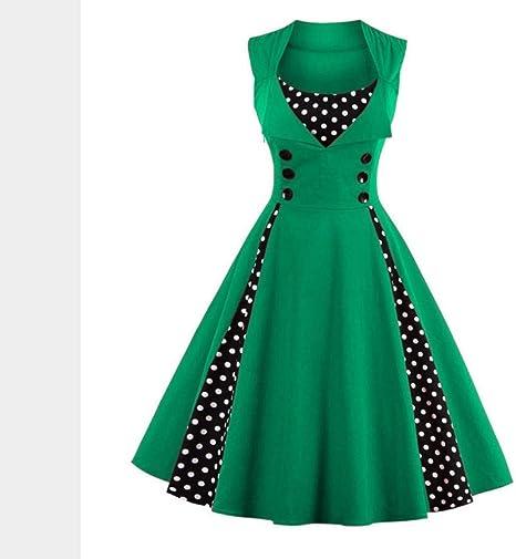 JJHR Vestido Vestido De Mujer Retro Vintage 50S 60S Rockabilly Dot ...