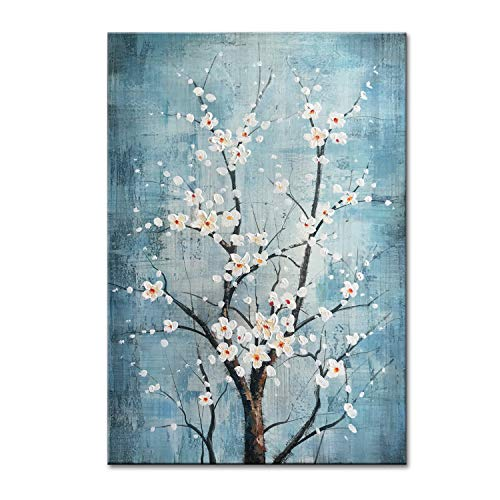 Framed Original Painting - FLY SPRAY 100% Hand Painted Oil Paintings Canvas Wall Art Tree Flowers Blossom Blue Artwork Stretched Framed Texture Landscape Modern Abstract Elegant Painting Decor Living Room Bedroom Office Home