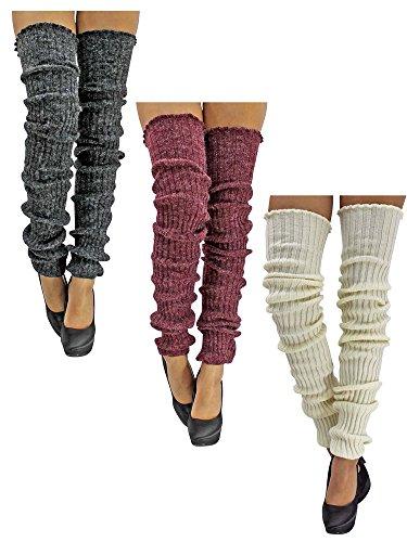 White-Burgundy-Gray-3-Pack-Slouchy-Thigh-High-Knit-Dance-Leg-Warmers