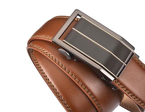 plyesxale Men's Leather Ratchet Dress Belt- Length is Adjustable – Delicate Gift Box