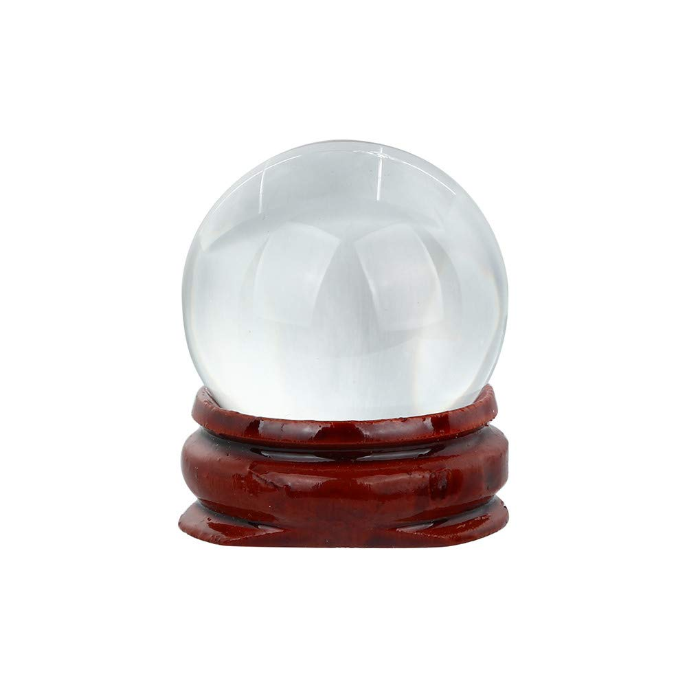 LiPing 30mm Natural Quartz Magic Crystal Ball Healing Ball Sphere and Stand Feng Shui Decor Collection for Gift/Home Decoration/Office Decor Bring Good Luck (B)