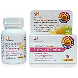 vH essentials Probiotics with Prebiotics and Cranberry Feminine Health Supplement, 60 Count