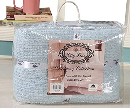 DREAM CASTLE PREMIUM 100% COTTON TEXTURE BLANKET ; SOFT & COZY ; PERFECT FOR LAYERING BLUE