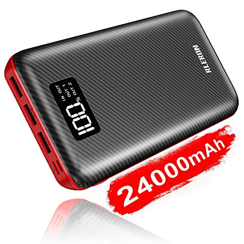Power Bank 24000mAh Portable Charger Huge Capacity Charge External Battery Pack Dual Inputs & Three Output with LCD Display, Compatible with Smart Phones, Tablet and More