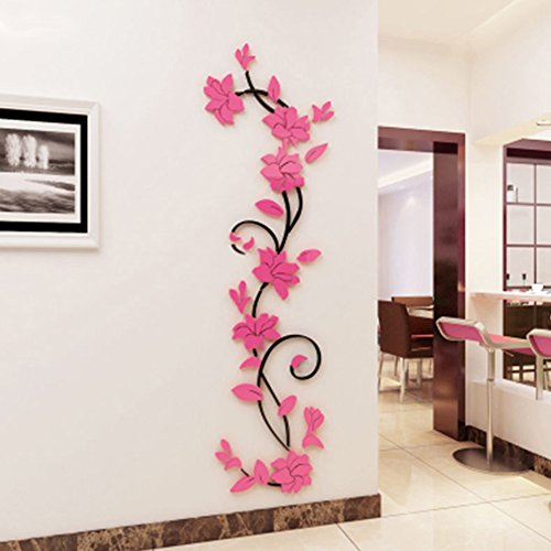 dds5391 3D Romantic Rose Flower Wall Stickers Removable PVC Home Decal Room Decoration - Pink