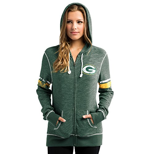 Majestic Green Bay Packers Women's Athletic Tradition Zip-Up Hooded Sweatshirt (X-Small)