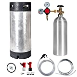 Keg Kit with 5 Gallon Pin Lock Keg, 5 lb CO2 Cylinder, Regulator, and All Accessories
