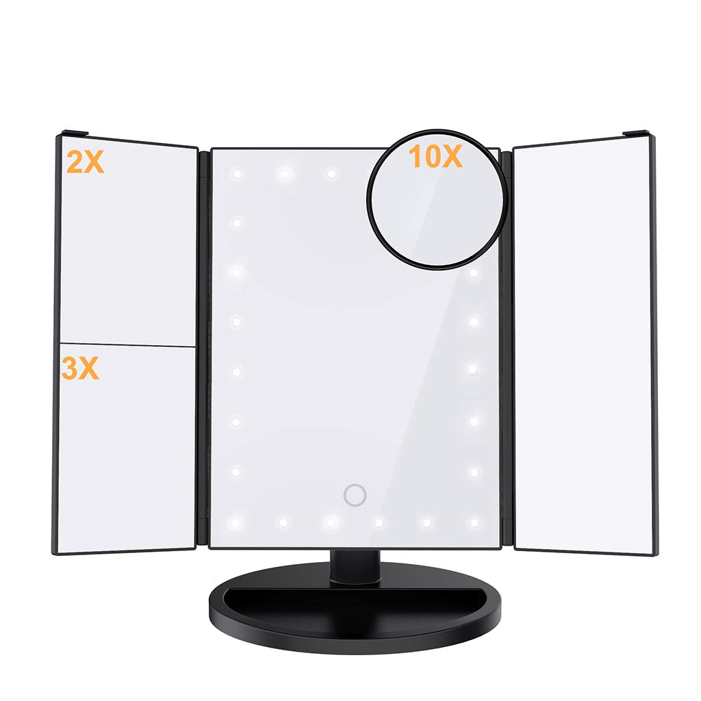 Ultimate Lighted Makeup Vanity Mirror | Trifold Magnifying Beauty Mirror With 24 LED Lights | 180° Rotation & Adjustable Height | 2X/3X/10X Magnification | Dual Power Supply & Tray Shaped Base | Black