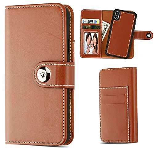 2-IN-1+Premium+Leather+Wallet+with+Removable+Magnetic+Case+for+iPhone+X+-+Brown