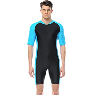 3caf66f74f3 Black Blue A101-NC Men Sun Protective Sunsuit Full Body Swimsuit Short  Sleeves UPF50 Racing