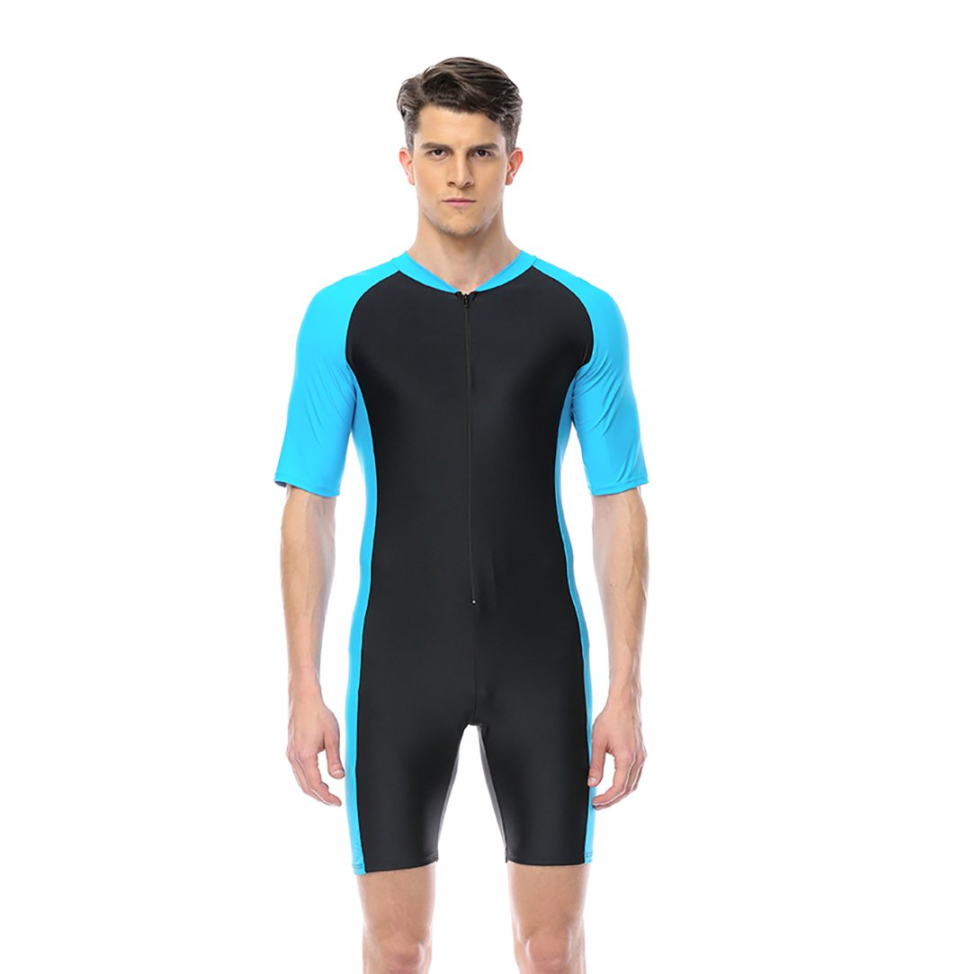 Swimsuit for Men New Fashion Belloo Design Light Blue Short-sleeve Surfing Suit Sun Protection One Piece