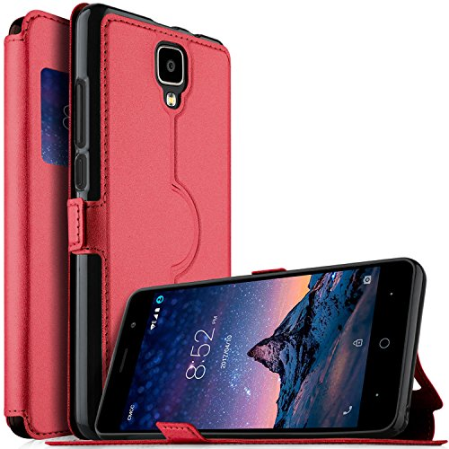DOOGEE X10 case, KuGi Ultra-Thin SCW Style PU Cover + TPU Back Stand Case for DOOGEE X10 Smartphone(Red)