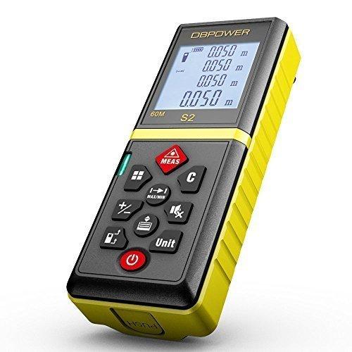 DBPOWER 60M/197FT Laser Entfernungsmesser Praktischer Laserdistanzmesser mit Stummschaltefunktion und entfernbarem Clip (Gelb)