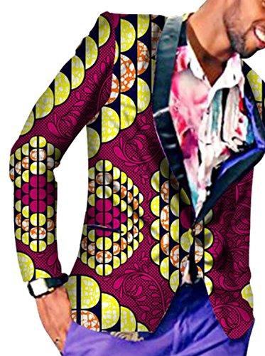 Oberora Mens Africa Print One Button Slim Fit Dashiki Blazer Suit Jacket Outwear 9 4XL by Oberora-Men