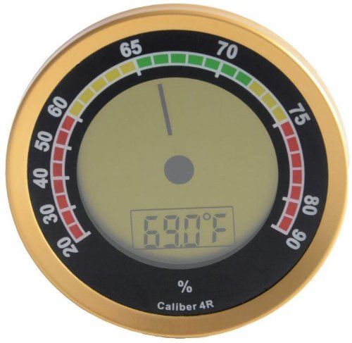 Cigar Oasis Caliber 4R Gold Digital/Analog Hygrometer by Western Humidor (Best Hygrometer For Humidor)