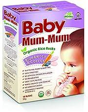 Baby Mum-Mum Blueberry and Carrot Flavour Organic Rice Rusks, 36 g