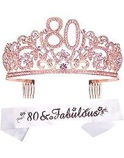 80th Birthday Tiara and Sash pink, 80th Birthday Gifts for woman, HAPPY 80th Birthday Party Supplies, 80 & Fabulous Glitter Satin Sash and Crystal Tiara Birthday Crown for 80th Birthday Party Supplie