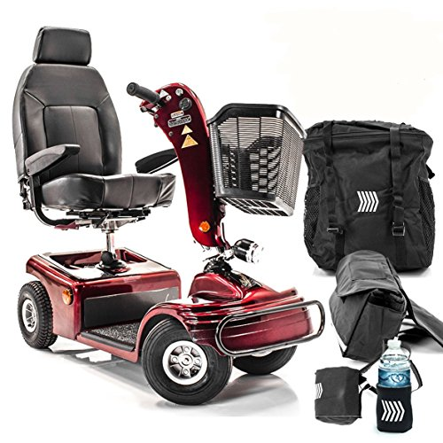 Shoprider Sunrunner 4-Wheel Electric Mobility Scooter 888B-4 RED + Challenger Accessories - Bundle by Challenger Mobility