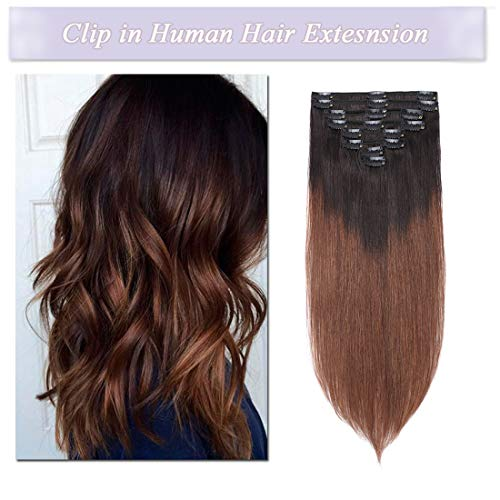 s-noilite Clip in Dip-Dye Ombre 100% Real Remy Thick True Double Weft Full Head 8 Pieces 18 clips Straight silky (18 inch - 140g,Natural Black/Medium Brown (#T1B/4))
