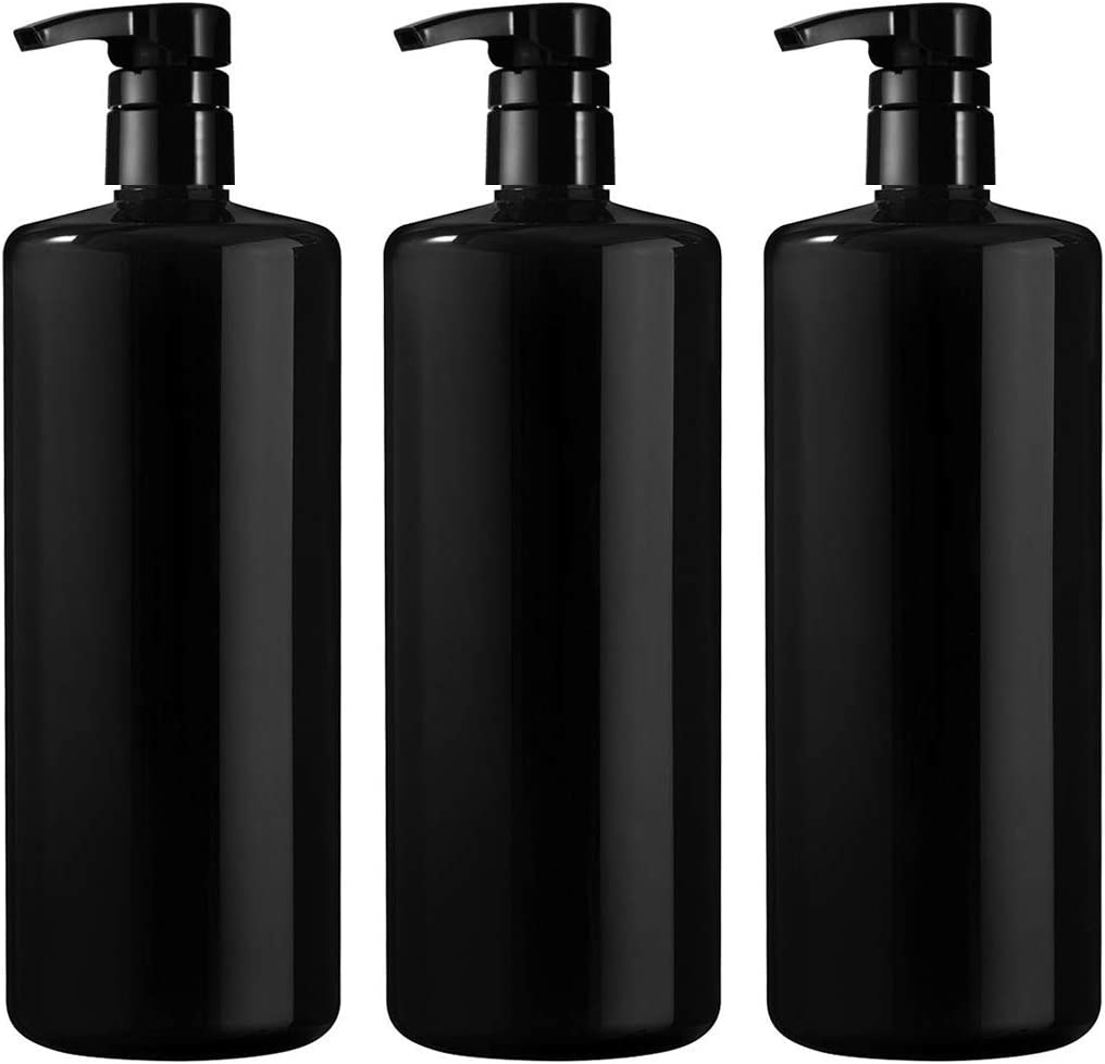 Bar5F Empty Shampoo Bottle with Pump, Black, Great 1 Liter 32 Ounce Refillable Dispensing Containers for Conditioner, Body Wash, Hair Gel, Liquid Soap, DIY Pack of 3
