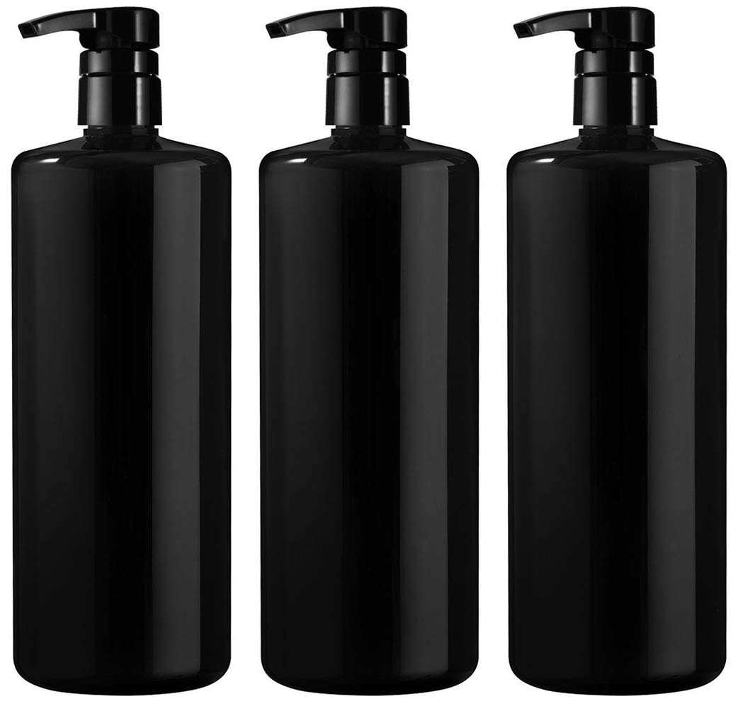 Bar5F Empty Shampoo Bottle with Pump, Black, Great 1 Liter/32 Ounce Refillable Dispensing Containers for Conditioner, Body Wash, Hair Gel, Liquid Soap, DIY (Pack of 3) by Bar5F
