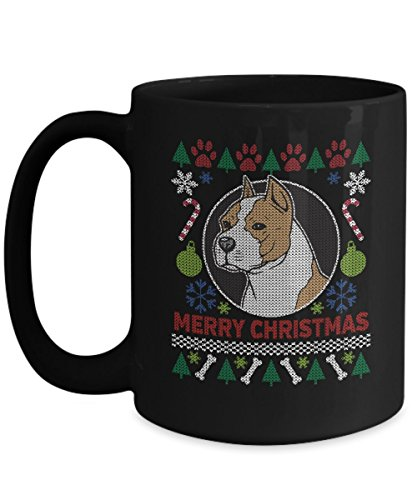 Christmas AmStaff American Staffordshire Terrier Pit Bull Black Coffee Mug 11oz or 15oz Xmas Ugly Sweater Design Cup Pitbull Gift for Dog Lovers