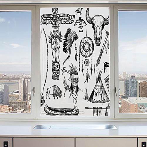 3D Decorative Privacy Window Films,Set of Wild West American Indian Culture Tribal Symbol Feather Totem Artwork,No-Glue Self Static Cling Glass film for Home Bedroom Bathroom Kitchen Office 17.5x36 In